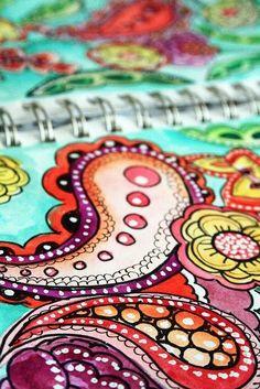 paisley doodle sketching by alisa burke Doodle Inspiration, Art Journal Inspiration, Color Inspiration, Doodles Zentangles, Zentangle Patterns, Zen Doodle, Doodle Art, Paisley Doodle, Art Journal Pages
