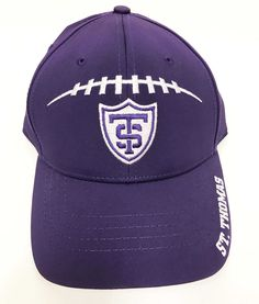 Hat- football laces and Athletic shield purple buckle back ($19.99) Maine, Baseball Hats, Football, Athletic, Purple, How To Wear, Fashion, Soccer, Baseball Caps