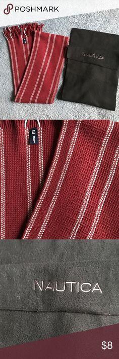 Men's gap and Nautica scarf bundle Men's gap maroon scarf with white stripes. Nautica basic black felt scarf. Bundle to save. Nautica Accessories Scarves