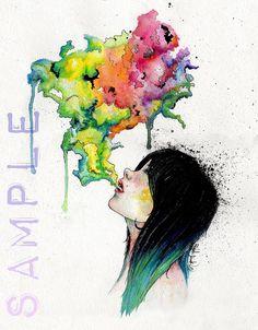 PRINT Watercolor Girl blowing Colorful Smoke, Vapor