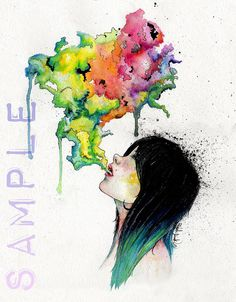 PRINT Watercolor Girl blowing Colorful Smoke, Vapor