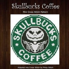 Skullbucks Coffee Humor  Cross Stitch PDF Chart | Etsy