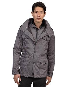 KENNETH COLE NEW YORK Grey Jacket with Vest 3-button placket, button flap patch chest pockets and button flap patch pockets at the hips.  Comes with a full-zip vest in the interior $103.99