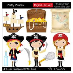 cute girls pirate clipart pirate clip art pirate digital clipart Red, Blue, Black - Pretty Pirates Girls - Personal and Commercial Use. $5.00, via Etsy.