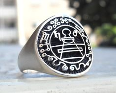 2d931863679b Heavy 3D Secret Seal Of King Solomon Ring Solid Sterling Silver 925 Seal Of  Solomon,