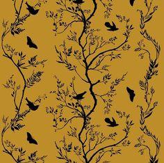"""Timorous Beasties """"Birdbranch Stripe Velvet"""" in Black on Honey 1 Timorous Beasties, Designer Wallpaper, Digital Prints, Art Projects, Upholstery, Velvet, Fancy, Pattern, Fabrics"""