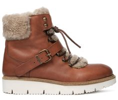 Women's Adda (Tan) Leather Shearling Ankle Boot | H Shoes