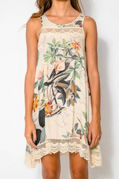 Artistic Floral Print Sleeveless Shift Dress - OASAP.com