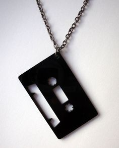 Acrylic Cassette Tape Necklace Black laser cut Silhouette Record Black Kitsch Emo Scene