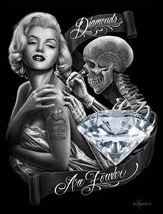 Diamonds by David Gonzales Tattoo Canvas Art Print Marilyn Monroe Skull Roses…