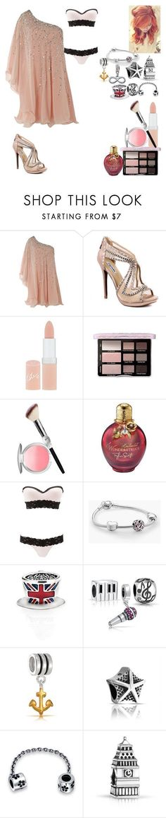 """Romantic Date Dinner"" by ria-oswald ❤ liked on Polyvore featuring Forever Unique, ZIGIgirl, Rimmel, It Cosmetics, Charlotte Russe, Pandora and Bling Jewelry"