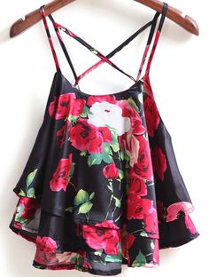 SheIn(sheinside) Black Spaghetti Strap Rose Print Cami Top ❤ liked on… Summer Outfits, Casual Outfits, Cute Outfits, Fashion Outfits, Womens Fashion, Fashion Trends, Black Crop Tops, Black Tank, Summer Shirts
