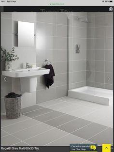 white and grey bathroom floor tiles Grey Bathroom Floor, Gray And White Bathroom, Grey Bathrooms, Bathroom Renos, Bathroom Layout, Bathroom Flooring, Modern Bathroom, Small Bathroom, Tiled Bathrooms