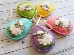 Lamb Easter decoration Felt Eggs with sheep ornament Easter