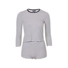 TopShop Striped Pyjama Set (25 AUD) ❤ liked on Polyvore featuring intimates, sleepwear, pajamas, blue, short pajamas, blue pajamas, striped pajamas, striped pyjamas and striped pjs