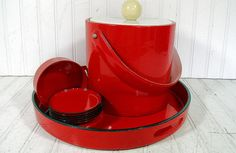 Vintage 11 Piece BarWare Entertaining Set - Retro Ruby Red Patent Leather Ice Bucket with Red & Black Lacquer Cocktail Tray and Coasters $57.00 by DivineOrders