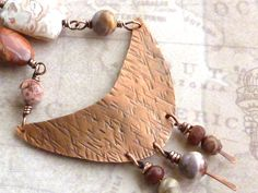 Red Copper Necklace Bold Design Crazy Lace Agate by ATwistOfWhimsy, $58.00