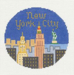 "Silver Needle NEW YORK CITY NYC handpainted 4.25"" Needlepoint Canvas Ornament"