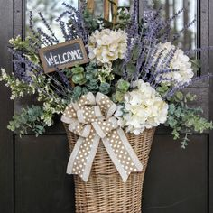 Add a basket filled with lavender and hydrangeas to your front door.