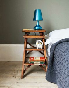 I don't know what I like better, the bedside step-ladder or the cute snarky owl.