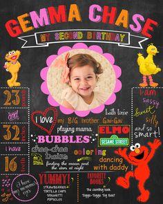 Sesame Street Birthday Chalkboard Sign for Birthday Party or Photoshoot - PRINTABLE Poster Birthday Milestones Boy or Girl on Etsy, $20.00