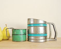 Vintage Flour Sifters, Set of two, Rustic Country Farmhouse Kitchen Decoration, Tin Planters, jadeite Green, Turquoise blue on Etsy