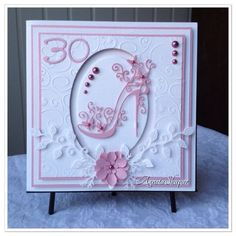 Birthday card using shoe die from Tattered lace Special Birthday Cards, 30th Birthday Cards, Handmade Birthday Cards, Female Birthday Cards, 50th Birthday Cards For Women, Tattered Lace Cards, Embossed Cards, Card Tags, Flower Cards
