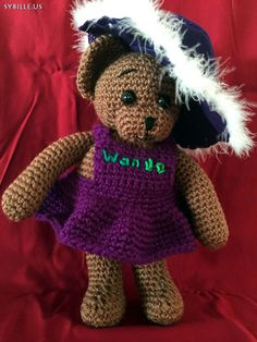 #Teddy, #gehäkelt, #braun mit #Hut, 32cm, #crochet, #brown with #hat, 12inch
