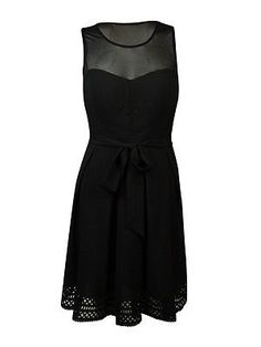 Guess Women's 'Karol' Belted Illusion A-Line Dress (2 Black)