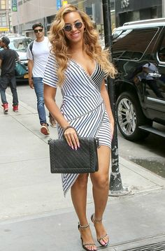Beyonce Out in Manhattan wearing a striped dress #fashion #celebrities #style #streetstyle #outfit