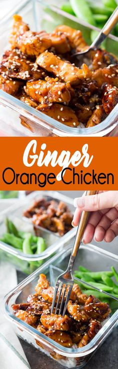 Ginger Orange Chicken Meal Prep makes lunch or dinner time delicious and easy!
