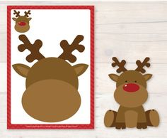 Christmas Playdough Mats Reindeer face