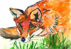 Fox Watercolor illustration art Artist: Maryna Kovalchuk  instagram.com/dyvokolir