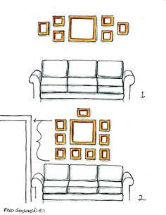 Must-see illustrations and great suggestions for hanging picture frames over the sofa, couch, furniture! Must-see illustrations and great suggestions for hanging picture frames over the sofa, couch, furniture! Behind Couch, Above Couch, Mirror Over Couch, Hanging Picture Frames, Picture Wall, Picture Collages, Hanging Photos, Ideas For Hanging Pictures, Picture Placement On Wall