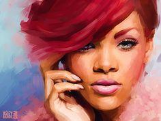 Rihanna in watercolor <3