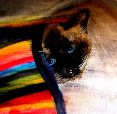 Blanket cat   Watercolor painting by Lynda Nolte shows the favorite spot for most cats.