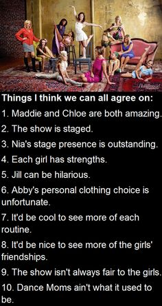 The only thing I would change would be that all the girls are amazing not just maddie and Chloe. Comment if u agree