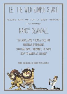 Where the wild things are baby boy shower invitations, wild rumpus digital, printable file (item 1269). $13.00, via Etsy.