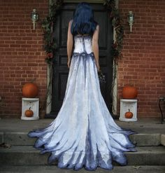Corpse Bride Wedding Gown Hand Painted by TheBohemianGoddess