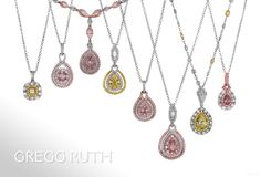 Party Colors! Pink and Yellow Diamond Pendants www.greggruth.com