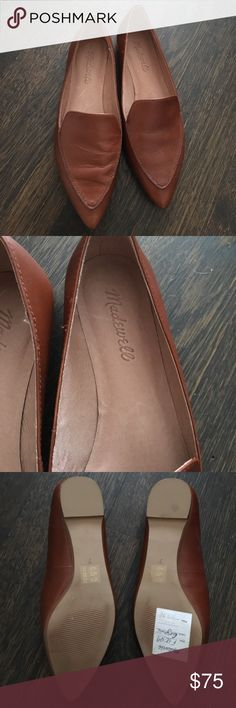 Brand new madewell loafers Really cute madewell loafers. Cognac brown with pointy toe. I love them - unfortunately they're a smidge too small (I usually wear a 7.5). Never worn outside - only in my apartment trying them on. Do not have box Madewell Shoes Flats & Loafers