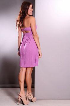 Lavender Strapless Center Twist Sweetheart Neckline Sexy Dress