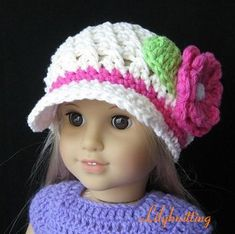 PATTERN in PDF Crocheted beanie for American Girl by LilyKnitting, $5.99