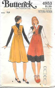 1970s Lace Front Jumper Butterick 4953 UNCUT Sewing Pattern Bust 33