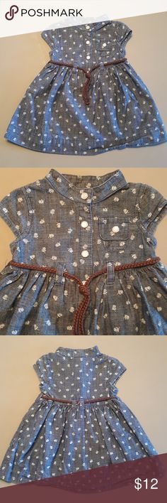 Gorgeous Carter's Dress 100% Cotton Denim Colored Dress with floral print and brown rope belt.. Like New Carter's Dresses Casual