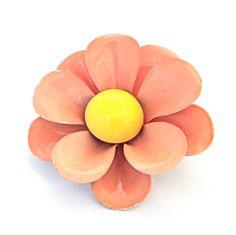 Vintage ENAMEL Flower Brooch 1960s Enamel DAISY by malibloom, $16.00