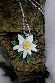 Polymer clay necklaces pendant, flower edelweiss jewelry, white bridal pendant by Jewelrylimanska on Etsy