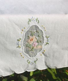 2 Floral Window napkins pastels hand Embroidered by AmiableLeaf