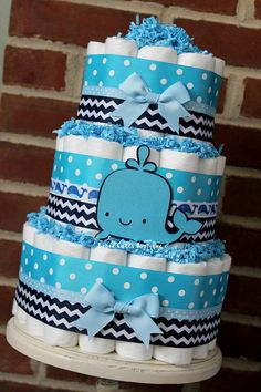 3 Tier Whale Diaper Cake Boy Baby Shower by BabeeCakesBoutique Baby Shower Diapers, Baby Shower Cakes, Baby Boy Shower, Baby Shower Gifts, Diaper Shower, Whale Diaper Cake, Cake Baby, Diaper Cakes, Pamper Cake