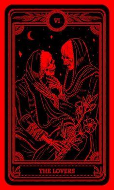 marigold tarot the lovers Red Aesthetic Grunge, Aesthetic Art, Aesthetic Vintage, Aesthetic Iphone Wallpaper, Aesthetic Wallpapers, Arte Obscura, Red Wallpaper, Red Walls, Skull Art